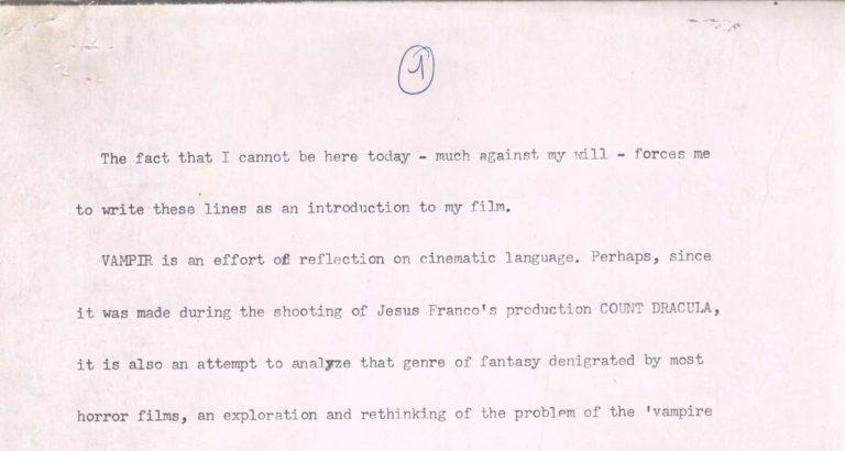 1972 – Document – Carta llegida a la presentació de Vampir-Cuadecuc al MoMA